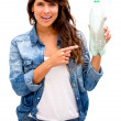 Woman with a bottle Woman with a bottle — Stock Photo #19495895