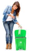 Mulher reciclagem reciclagem de mulher — Foto Stock