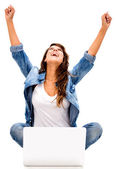 Mujer exitosa en línea exitosa mujer en línea — Foto de Stock