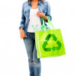Woman with a green bag Woman with a green bag  — Stock Photo