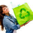 Woman with an ecological bag Woman with an ecological bag — Stock Photo