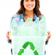 Stock Photo: Womrecycling bin Womrecycling bin