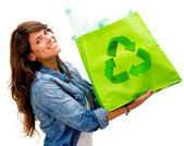 Woman with an ecological bag Woman with an ecological bag — Stockfoto