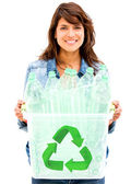 Woman recycling bin Woman recycling bin — Stock Photo