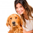 Royalty-Free Stock Photo: Happy woman with a dog Happy woman with a dog