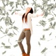 Woman under a money rain Woman under a money rain — Stock Photo