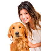 Happy woman with a dog Happy woman with a dog — Stock Photo