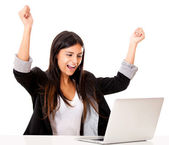 Successful woman with a laptop Successful woman with a laptop — Stock Photo