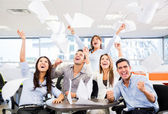Business group celebrating a triumph Business group celebrating a triumph — Stock Photo