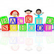 Stock Photo: 3d happy kids going back to school 3d happy kids going back to school