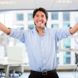 Successful business man with arms up Successful business man with arms up — Stock Photo