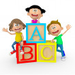 3D kids with ABC cubes 3D kids with ABC cubes - Stock Photo