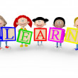3D kids with the word learn 3D kids with the word learn — Stock Photo