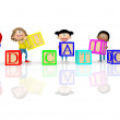 Stock Photo: 3D kids spelling education 3D kids spelling education