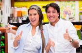 Couple with thumbs up Couple with thumbs up — Stock Photo
