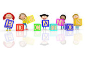 3D kids spelling education 3D kids spelling education — Stock Photo