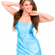 Stock Photo: Woman in blue dress Woman in blue dress