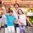 Excited family with arms up Excited family with arms up  — Stock Photo