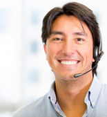 Telemarketing agent Telemarketing agent — Stock Photo