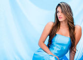 Woman in a beautiful blue dress Woman in a beautiful blue dress — Stock Photo