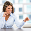 Businesswoman displaying something Businesswoman displaying something — Stock Photo