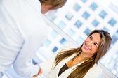 Business woman handshaking Business woman handshaking — Stock Photo