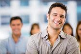 Biznes człowiek z człowiekiem biznesu grupy z grupą — Zdjęcie stockowe