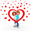 3D 3d couple de valentines valentines couple — Photo