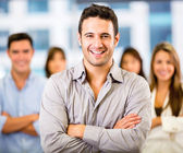 Business man leading a team Business man leading a team — Stock Photo
