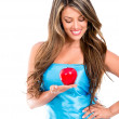 Stock Photo: Eve holding apple Eve holding apple