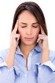 Businesswoman with a headache Businesswoman with a headache — Stock Photo