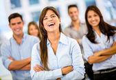 šťastný obchodní skupina happy obchodní skupina — Stock fotografie