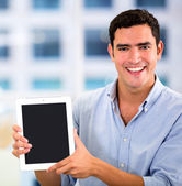 Businessman with a tablet computer Businessman with a tablet computer — Stock Photo