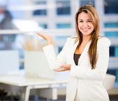 Welcoming business woman Welcoming business woman — Stock Photo