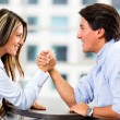 Couple arm wrestling Couple arm wrestling — Stock Photo