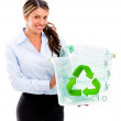 Woman recycling Woman recycling - Stock Photo