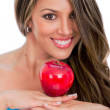 Beautiful woman holding an apple Beautiful woman holding an apple — ストック写真 #21011215