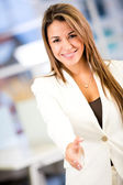 Apretón de manos negocios apretón de manos de negocio — Foto de Stock