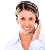 Telemarketing agent with headset Telemarketing agent with headset — Stock Photo