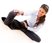 Business woman stretching Business woman stretching — Stockfoto
