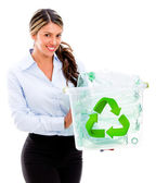 Woman recycling Woman recycling — Stock Photo