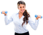 Businesswoman in an active pause Businesswoman in an active pause — Stock Photo