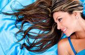 Donna con capelli bella donna con i capelli belli — Foto Stock