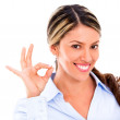 Business woman with an ok sign Business woman with an ok sign — Stock Photo