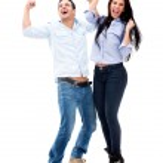 Successful couple celebrating Successful couple celebrating — Stock Photo
