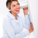 Businesswoman listening to secrets Businesswoman listening to secrets — Stock Photo
