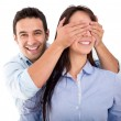 Man surprising his girlfriend Man surprising his girlfriend — Stock Photo #21150061