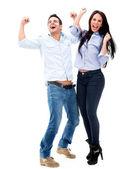 επιτυχής ζεύγους που γιορτάζει την επιτυχή ζευγάρι γιορτάζει — Φωτογραφία Αρχείου