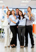 Business group with arms up Business group with arms up — Stock Photo