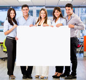 Business group with a banner Business group with a banner — Stock Photo